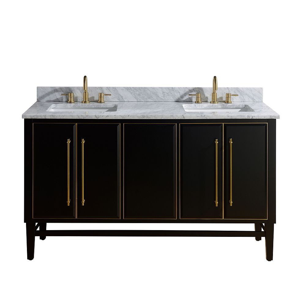 Avanity Mason 61 inch Vanity Combo in Black with Gold Trim and Carrara White Marble Top