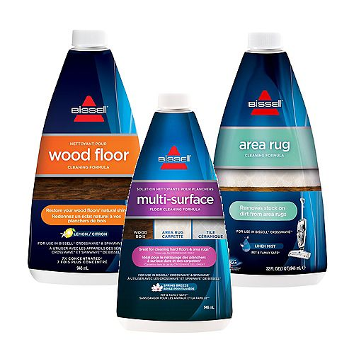 CrossWave 3 Piece Formula Combo Pack of Area Rug, Multi-Surface and Wood Floor Cleaners
