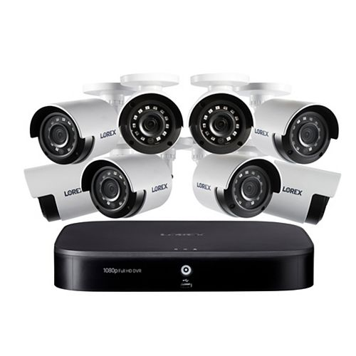 1080p 8 Channel 1TB Hard Drive DVR Security System with 8 x Outdoor Bullet Security Cameras