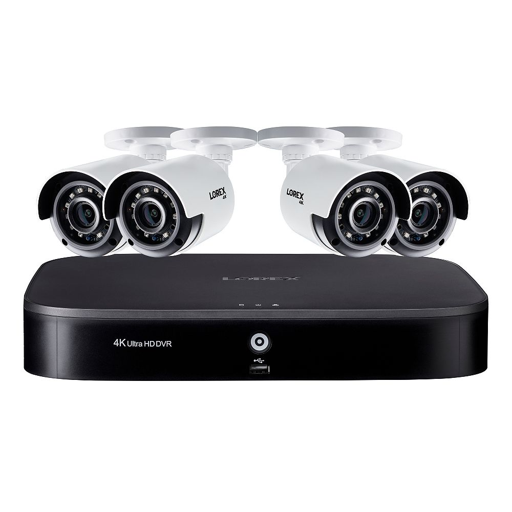 LOREX 4K Ultra HD 8 Channel 2TB Hard Drive DVR Security System with 4 x Outdoor Bullet Security Cameras
