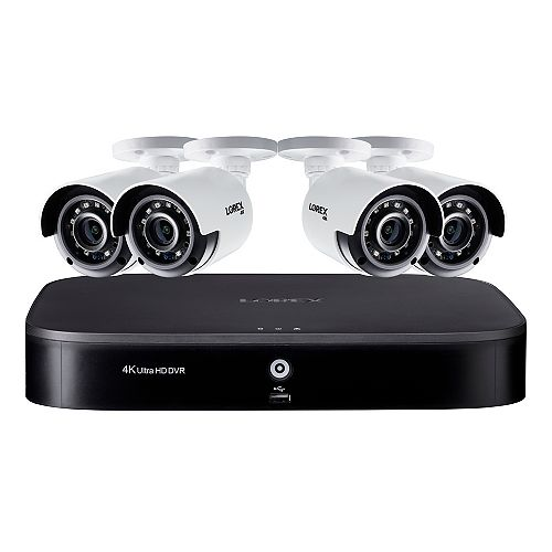 4K Ultra HD 8 Channel 2TB Hard Drive DVR Security System with 4 x Outdoor Bullet Security Cameras