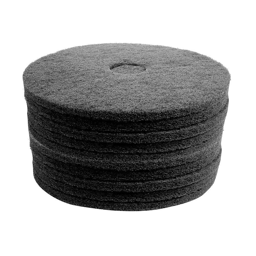 """Johnny Vac Floor Machine Pads - for Stripping - 17"""" (43.2 cm) - Black - 2 Boxes of 5 - 66261054227"""