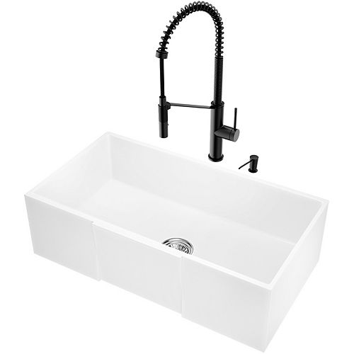 VIGO Farmhouse Matte Stone 30 inch Single Bowl Kitchen Sink and Faucet Set in Matte Black