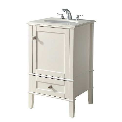 Chelsea 20 inch Contemporary Bath Vanity in Soft White with Bombay White Engineered Quartz MarbleTop