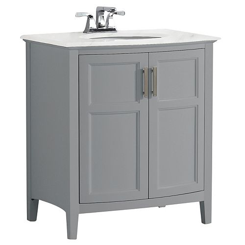 Winston 30 inch Contemporary Rounded Vanity in Warm Grey with Bombay White Engineered Quartz Marble