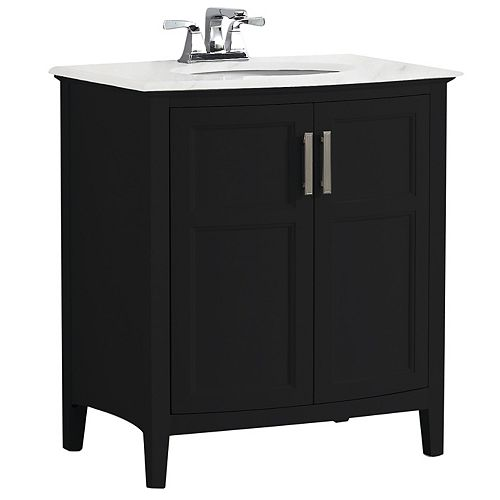 Winston 30 inch Contemporary Bath Vanity in Black with Bombay White Engineered Quartz Marble