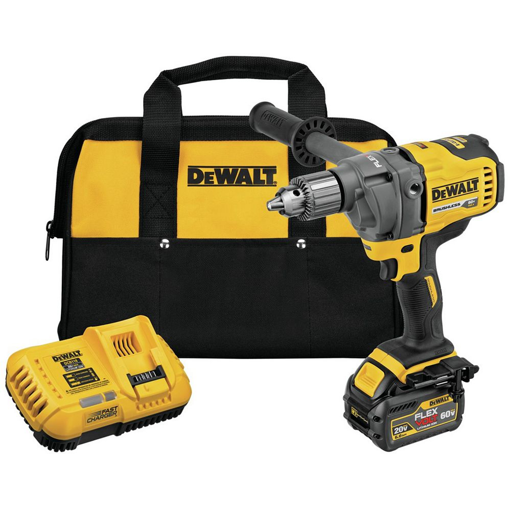 Dewalt FLEXVOLT 60V MAX Lithium-Ion Cordless Brushless 1/2-inch Mixer/Drill with E-Clutch with Battery 2.0Ah, Charger & Bag