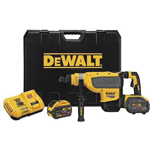 Dewalt FLEXVOLT 60V Max Lithium Ion Brushless Cordless 1-7/8-inch SDS Rotary Hammer Kit with (2) 9 Ah Batteries and Charger