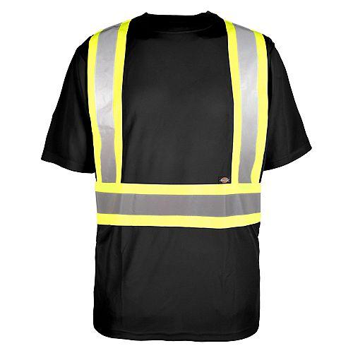 Hi-Viz Short Sleeve Safety T-Shirt, Black, L