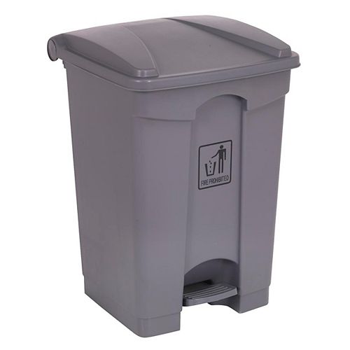 Poubelle avec couvercle et pédale - 17 gal (68 L) - grise