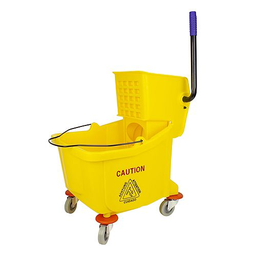 Ensemble seau et tordeur à pression latérale - 9,4 gal (36 L) - jaune