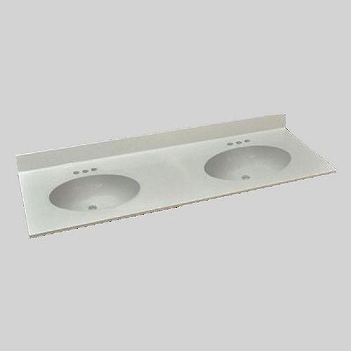 Malibu 61-Inch W x 22-Inch D Marble Double Basin Vanity Top in Ultra White