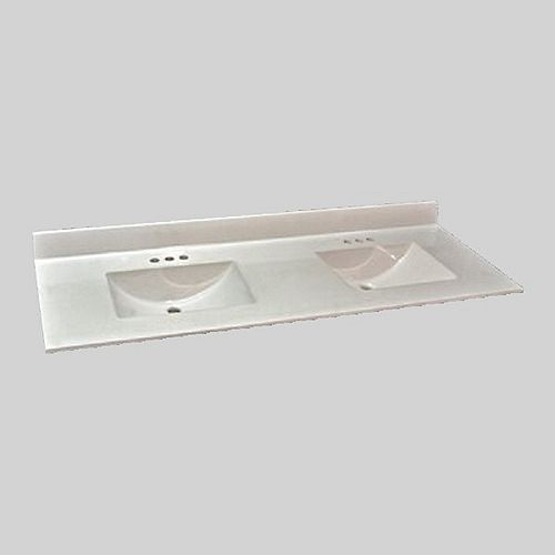 Wave 61-Inch W x 22-Inch D Marble Double Basin Vanity Top in Ultra White