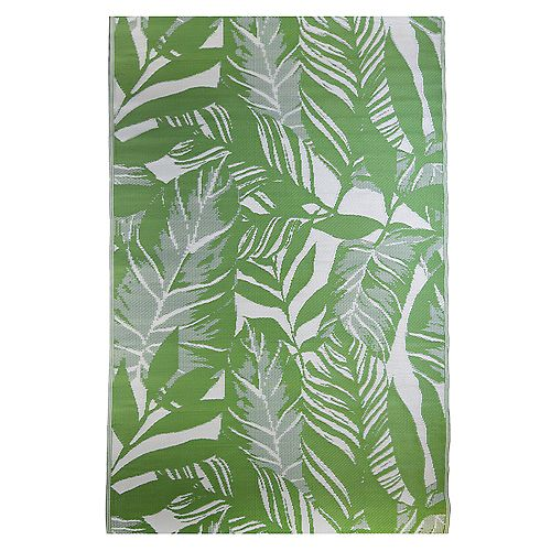 Leaves Green 7 ft. 10-inch x 11 ft. 6-inch Outdoor Area Rug