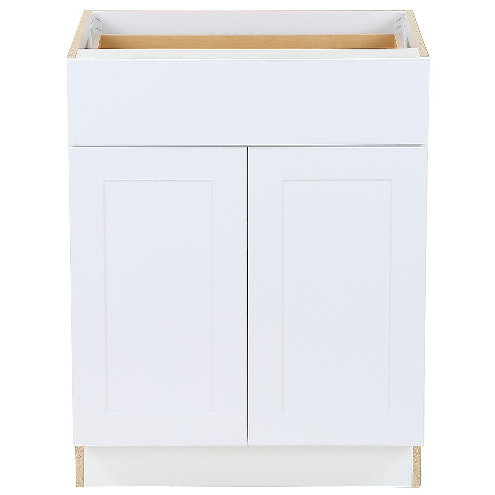 Hampton Bay Edson 27-inch W x 34.5-inch H x 24.5-inch D Shaker Style Assembled Kitchen Base Cabinet in Solid White with Adjustable Shelf (B27L)