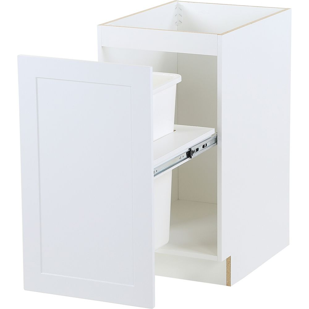 Hampton Bay Edson 18-inch W x 34.5-inch H x 24.5-inch D Shaker Style Assembled Kitchen Base Cabinet in Solid White with Pull Out Trash Can (B18FHMWBS)