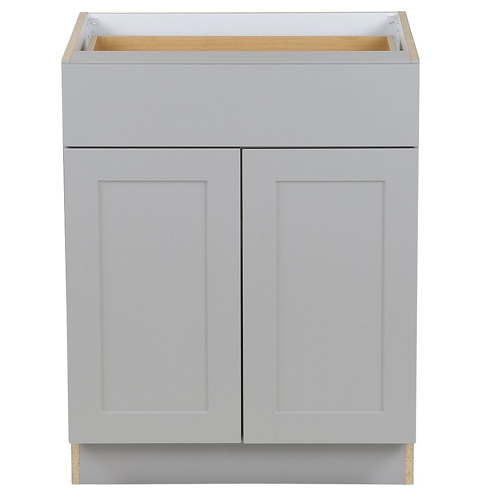 Hampton Bay Edson 27-inch W x 34.5-inch H x 24.5-inch D Shaker Style Assembled Kitchen Base Cabinet in Taupe Grey with Adjustable Shelf (B27L)