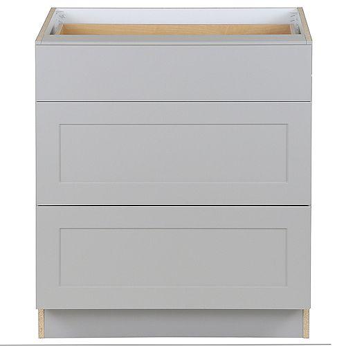 Armoire sur plancher Edson grise assemblée 76,2 cm l x 87,63 cm H x 62,23 cm P, 3 tiroirs, BD303V