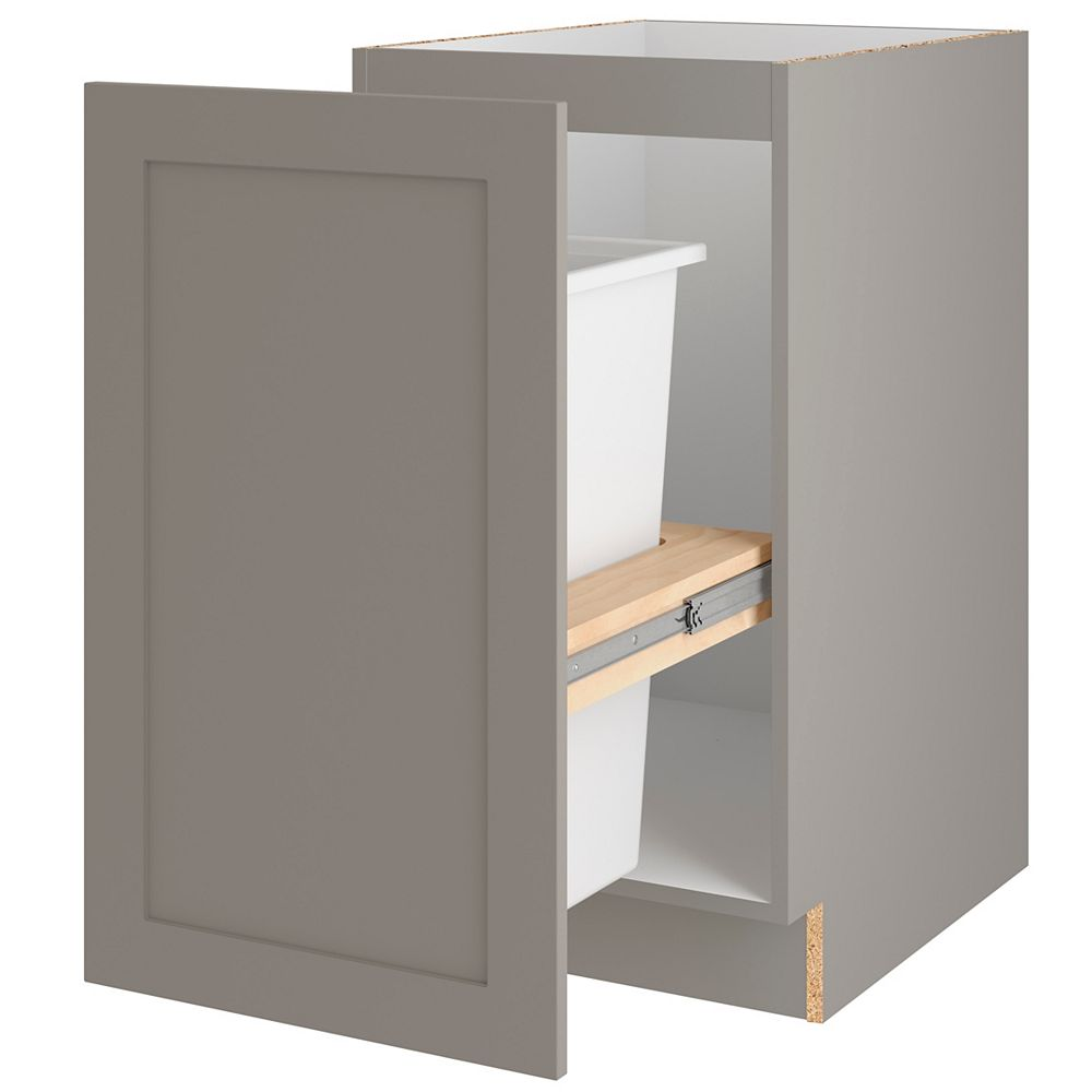 Hampton Bay Edson 18-inch W x 34.5-inch H x 24.5-inch D Shaker Style Assembled Kitchen Base Cabinet in Taupe Grey with Pull Out Trash Can (B18FHMWBS)