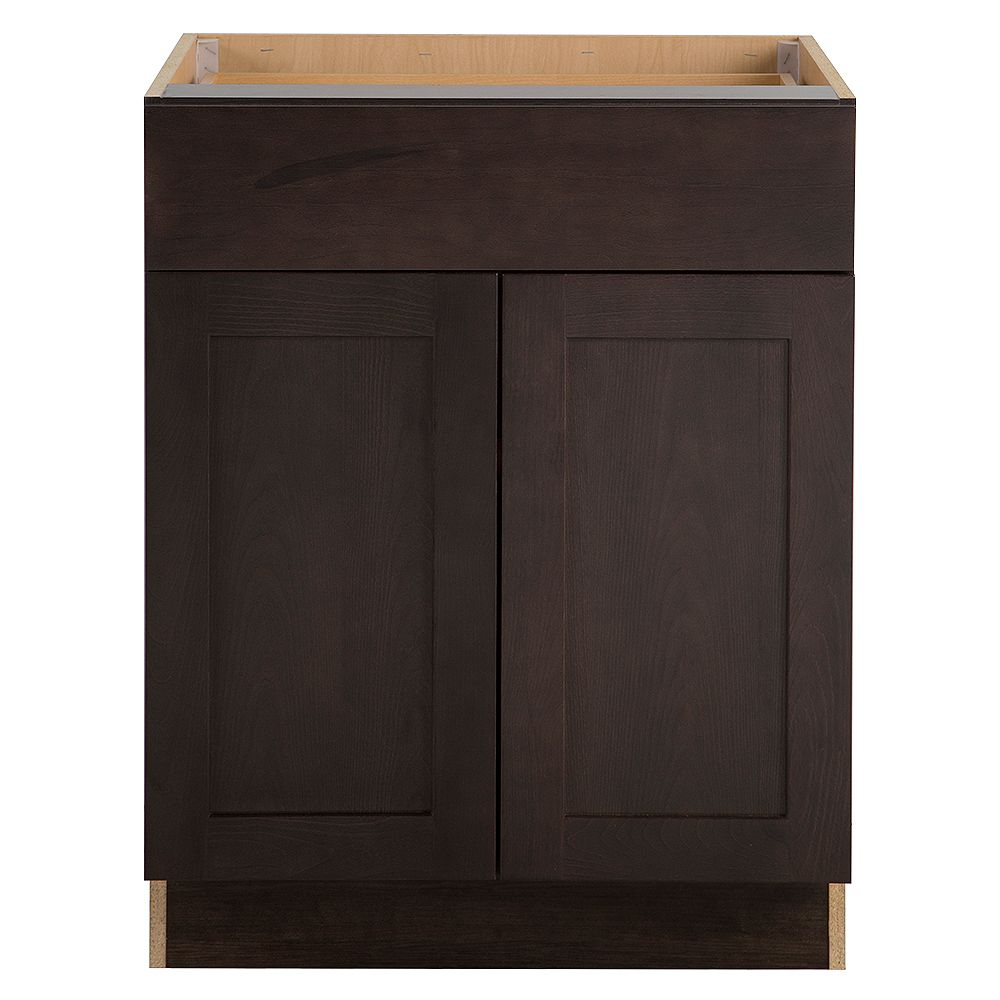 Hampton Bay Edson 27-inch W x 34.5-inch H x 24.5-inch D Shaker Style Assembled Kitchen Base Cabinet in Dusk Cocoa Brown with Adjustable Shelf (B27L)