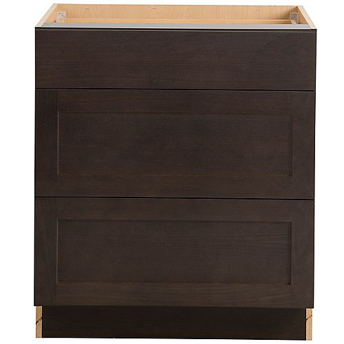 Hampton Bay Edson 30-inch W x 34.5-inch H x 24.5-inch D Shaker Style Assembled Kitchen Base Cabinet/Cupboard in Dusk Cocoa Brown with 3 Soft Close Drawers (BD303V)