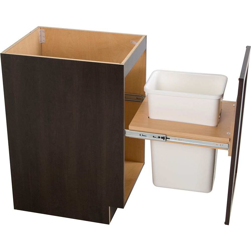 Hampton Bay Edson 18-inch W x 34.5-inch H x 24.5-inch D Shaker Style Assembled Kitchen Base Cabinet in Dusk Cocoa Brown with Pull Out Trash Can (B18FHMWBS)