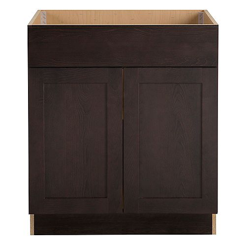 Hampton Bay Edson 30-inch W x 34.5-inch H x 24.5-inch D Shaker Style Assembled Kitchen Sink Base Cabinet in Dusk Cocoa Brown (BS30)