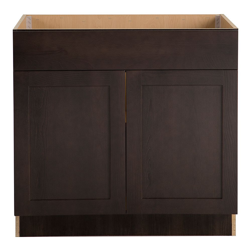 Hampton Bay Edson 36-inch W x 34.5-inch H x 24.5-inch D Shaker Style Assembled Kitchen Sink Base Cabinet in Dusk Cocoa Brown (BS36)