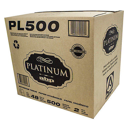 Bathroom Tissue - 2-Ply - Box of 48 Rolls of 500 Sheets - White - Platinum PL500