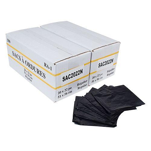 """Sacs à poubelle/ordures commercial - régulier - 20""""x22"""" (50,8 cm x 55,8 cm) - noir - 2 boîtes de 500"""