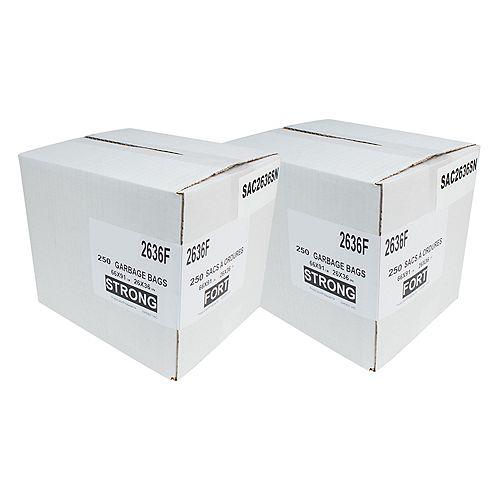 """Sacs poubelle/ordure commercial  - extra robuste - 26""""x36"""" (66 x 91,6 cm) - noir - 2 boîtes de 200"""