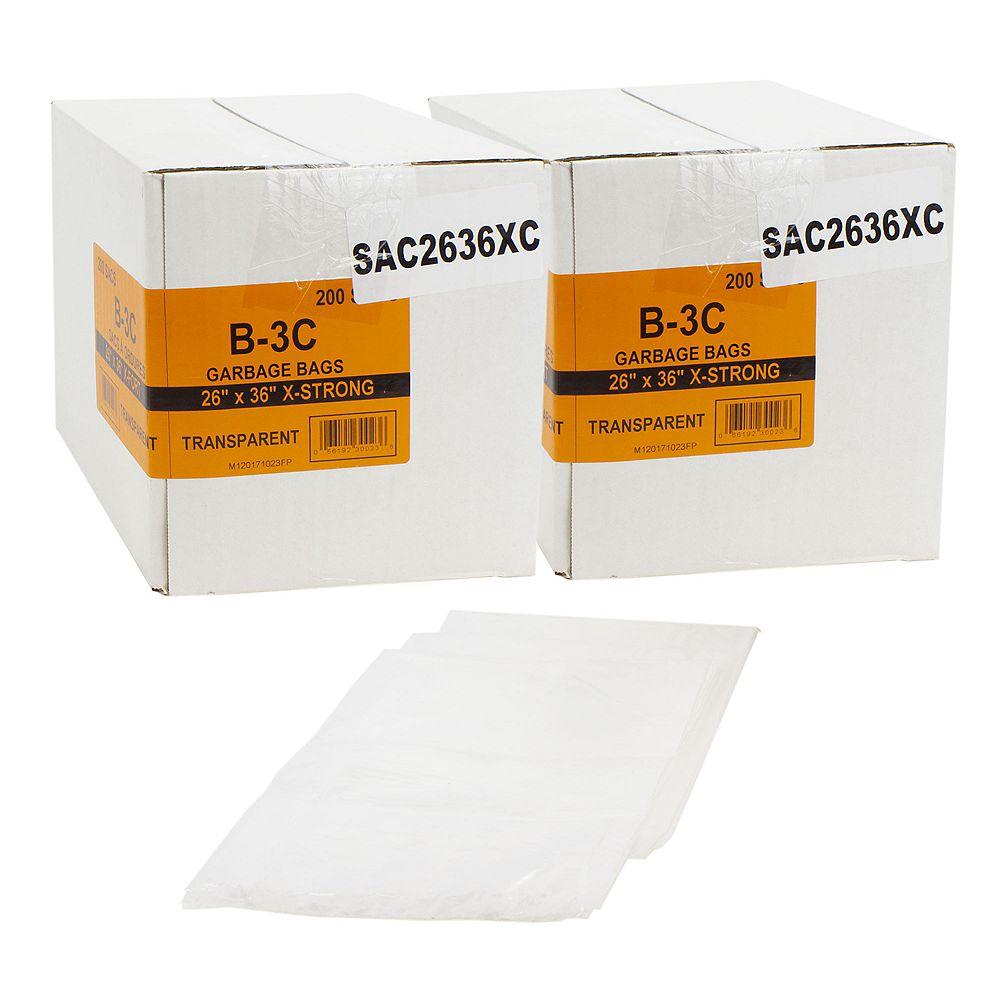 """Johnny Vac Sacs poubelle/ordure commercial  - extra robuste - 26""""x36"""" (66 x 91,6 cm) - clair - 2 boîtes de 200"""