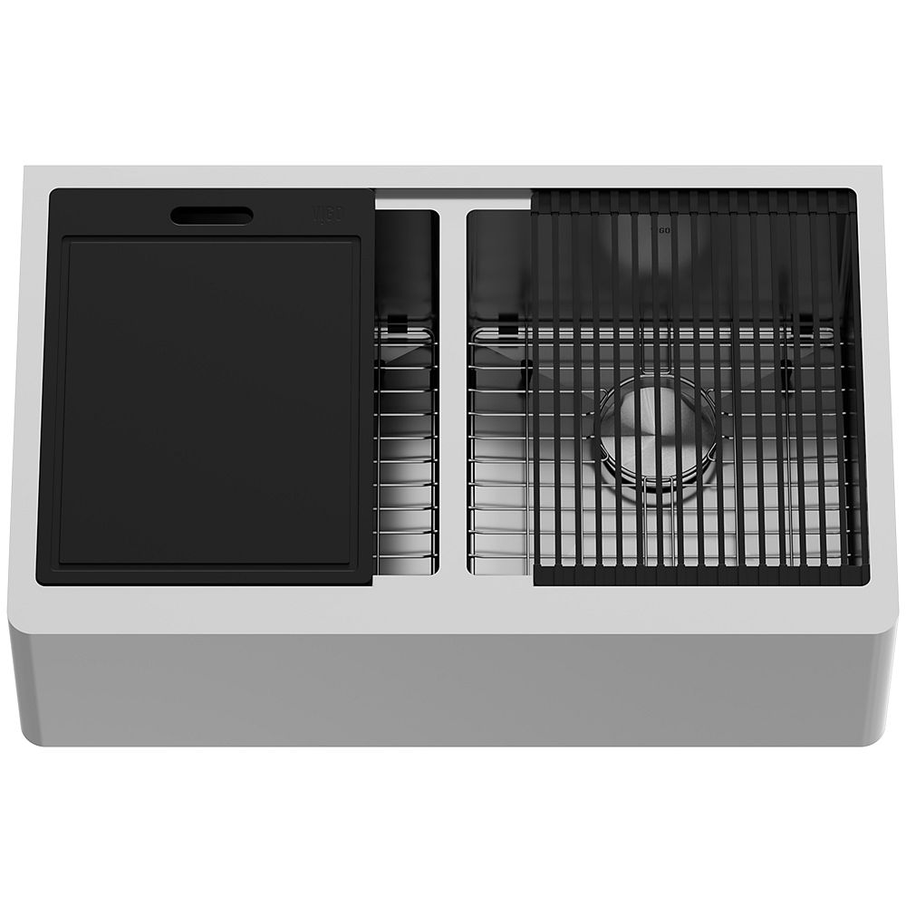 VIGO Oxford Stainless Steel 33 in. Double Bowl Flat Farmhouse Apron-Front Workstation Kitchen Sink with Accessories