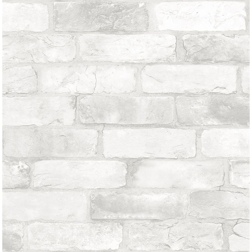 Nuwallpaper Loft White Brick Peel Stick Wallpaper The Home Depot Canada
