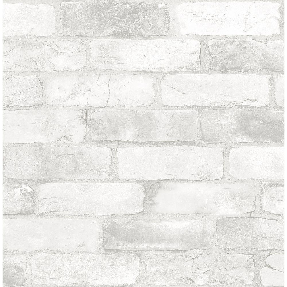 Nuwallpaper Loft White Brick Peel Stick Wallpaper The Home Depot Canada