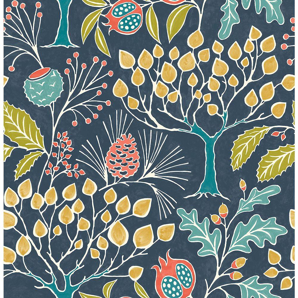 NuWallpaper Groovy Garden Navy Peel & Stick Wallpaper