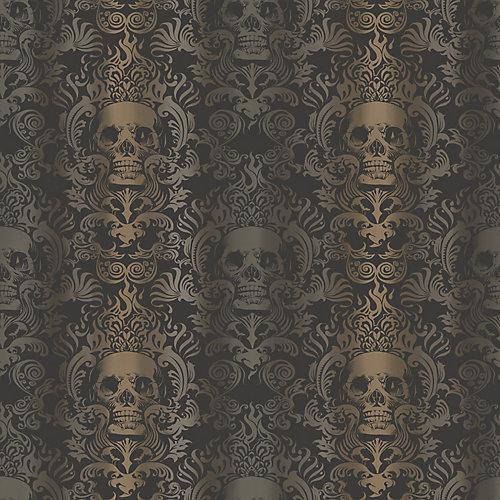 Luther Sand Skull Modern Damask Wallpaper
