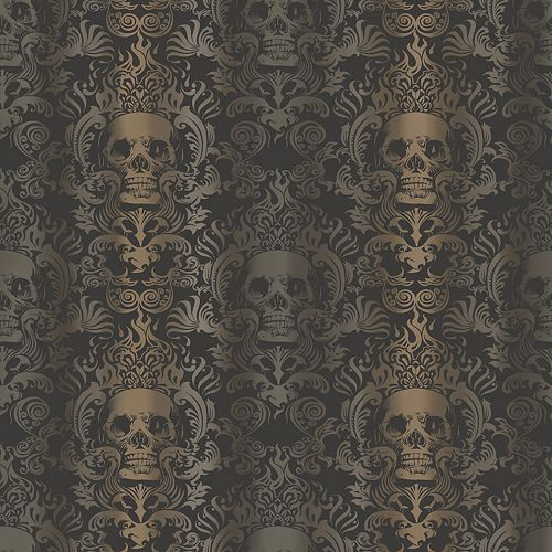 Papier peint Luther Crâne Sable Moderne Damassé