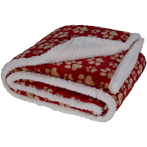 """Long Rich Soft Flannel Paw Print Revers to Ultra Soft Sherpa Throw, Red 50""""x60"""""""