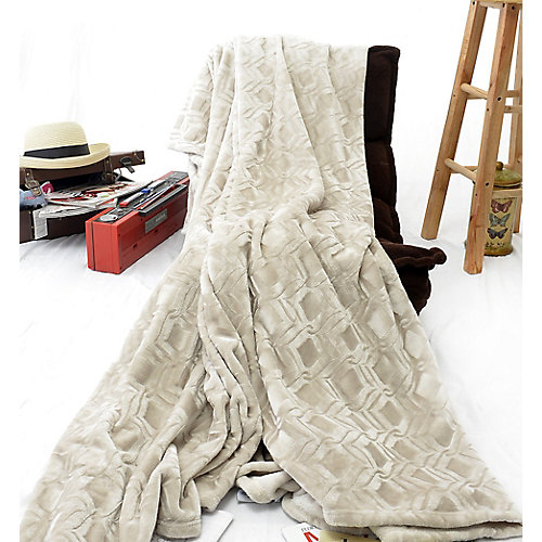 "Diamond Embossed Micro  Heavy Weight Velvet Blanket, 108""x90"",  Ivory/Cream"