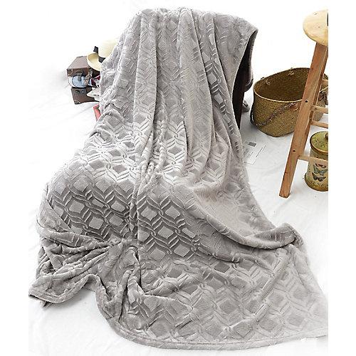 """Diamond Embossed Micro  Heavy Weight Velvet Blanket, 108""""x90"""",Light Grey"""