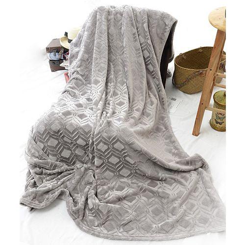 """Couverture en velours de poids lourd micro gaufré diamant, 108 """"x90"""", gris clair"""