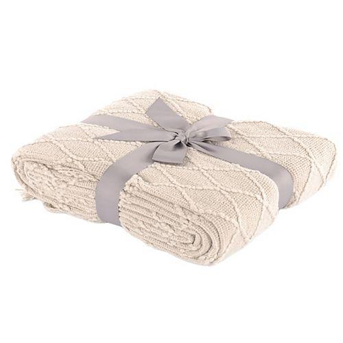 """Couverture / jeté décoratif à motif de diamant en tricot, 50 """"x60"""" Beige"""