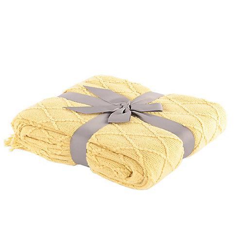 "Knit Diamond Pattern Decorative Throw/Blanket, Large 52""x80"" Yellow"