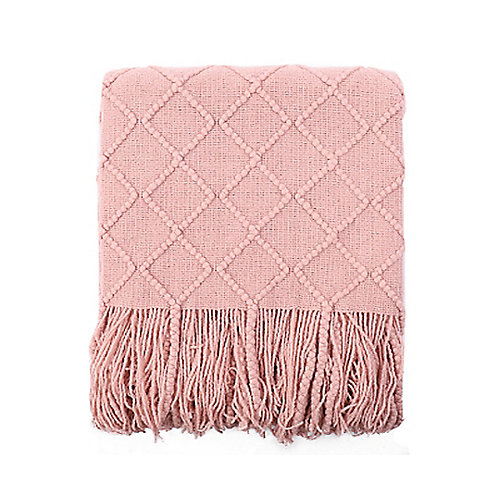 "Knit Diamond Pattern Decorative Throw/Blanket, 50""x60"" Yellow"