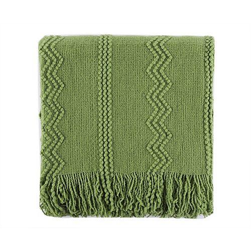 """Battilo Home Jeté / Blanket tissé complexe avec motifs en relief et extrémité à franges, 50 """"x60"""" Vert"""