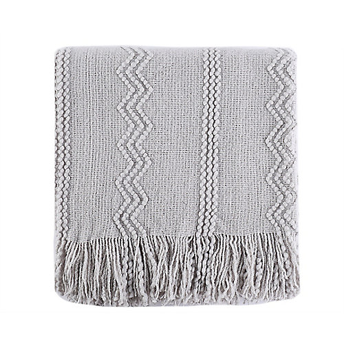 """Intricate Woven Throw with Raised Patterns and Tasseled End, 50""""x60"""" Light Grey"""