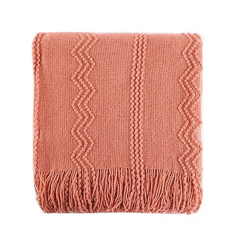 "Intricate Woven Throw/Blanket with Raised Patterns and Tasseled End, 50""x60"" Salmon"