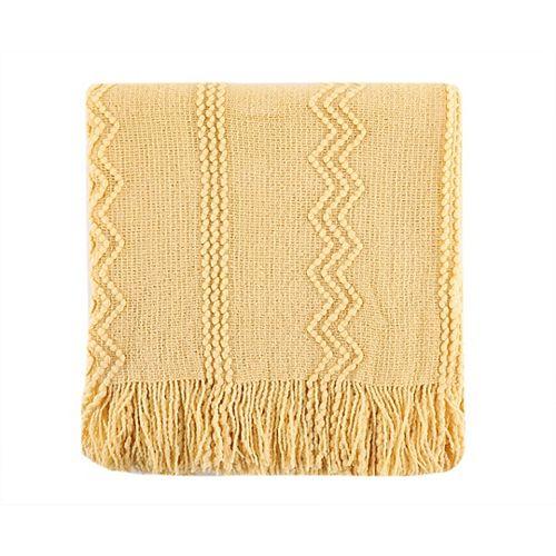 """Jeté / Blanket tissé complexe avec motifs en relief et extrémité à franges, 50 """"x60"""" jaune"""