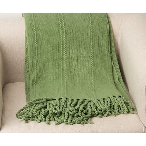 """Battilo Home Cable Knit Woven Luxury Throw Blanket With Tasseled Ends 50""""x 60"""" Green"""